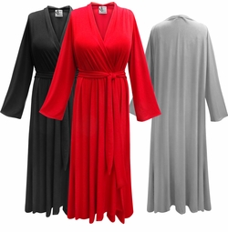 NEW! Solid Color Flowy Poly/Cotton or Soft Rayon Robes - Plus Size Supersize 0x 1x 2x 3x 4x 5x 6x 7x 8x 9x