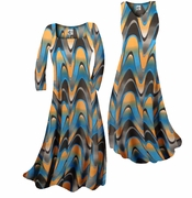 SOLD OUT! Pretty Blue & Alloy Orange Zig Zag Swirls Print Slinky Plus Size & Supersize A-Line Dresses 2x