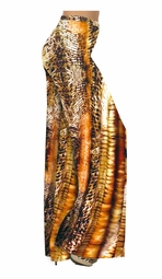 SOLD OUT! Pretty Brown & Tan Animal Print Slinky Plus Size Tapered Pants 1x