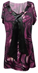 SOLD OUT! Purple & Black Neck Tie Slinky Short Sleeve Tunic Top 4x 5x 6x