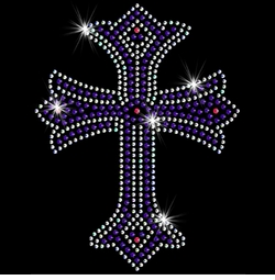 SALE! Colorful Purple Cross Sparkly Rhinestud Rhinestones Plus Size & Supersize T-Shirts S M L XL 2x 3x 4x 5x 6x 7x 8x 9x (All Colors)