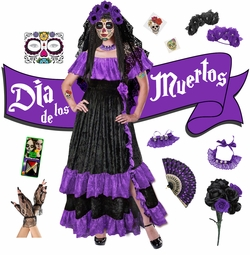 NEW! Purple Dia de los Muertos! Day of the Dead Plus Size Day of the Dead Halloween Costume Long Dress & Accessory Kits XL 1x 2x 3x 4x 5x 6x 7x 8x
