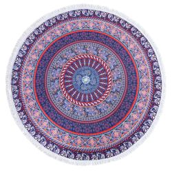 "SALE! Purple Elephants Print Round Mandala 60"" Oversize Beach Towel With Tassels!"