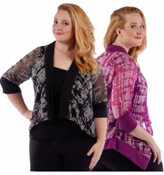 CLEARANCE SALE! Purple Print Semi Sheer Half Sleeve Cardigan Jacket Coverup Plus Size 4x