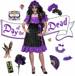 NEW! Purple Sexy Day of the Dead - Dia de los Muertos Plus Size Halloween Costume Dress & Accessory Kits XL 1x 2x 3x 4x 5x 6x 7x 8x