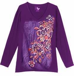 SOLD OUT! SALE! Purple Tribal Club Glittery Floral Print Plus Size Long Sleeve T-Shirt 1x 4x