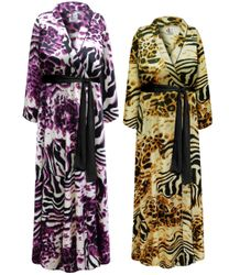 NEW! SALE! Plus Size Customizable Animal Print Lightweight Satin Robe 1x 2x 3x 4x 5x 6x 7x 8x 9x
