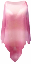 SALE! Plus Size Semi Sheer Pretty Fuschia Metallic Mini Rhinestuds Oblique Poncho Coverup