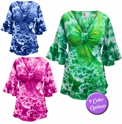 SALE! Plus Size Sexy Tie Dye Low-Cut Cotton Flutter Sleeve Babydoll Tops 0x 1x 2x 3x 4x 5x 6x 7x 8x