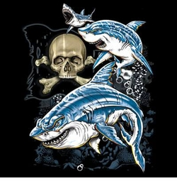 CLEARANCE! Sharks and Skull Plus Size & Supersize T-Shirts S M L XL 2x 3x 4x 5x 6x 7x 8x (All Colors)