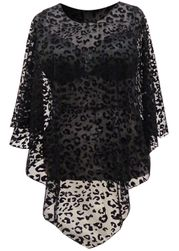 NEW! Sheer Lace Black Velvet Leopard Spots on Sheer Lace See Through Plus Size Supersize Poncho