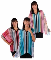 SALE! Sheer Vertical Stripes Button Cardigan Jacket Coral Blue Pink Top Caftan Style Sleeve Plus Size 4x