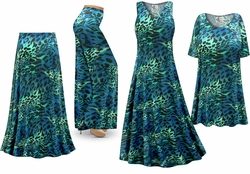 SOLD OUT! Teal & Green Animal Print - Plus Size Slinky Dresses Shirts Jackets Pants Palazzo�s & Skirts - Sizes Lg to 9x