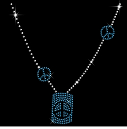 SALE! Sparkly Rhinestud Rhinestones Blue & Silver Peace Sign Necklace Neckline Plus Size & Supersize T-Shirts S M L XL 2x 3x 4x 5x 6x 7x 8x 9x (All Colors)