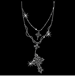 SALE! Sparkly Rhinestud Rhinestones Cross Necklace Neckline Rosary Style Plus Size & Supersize T-Shirts S M L XL 2x 3x 4x 5x 6x 7x 8x 9x (All Colors)