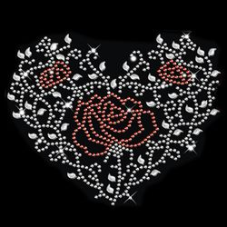 SALE! Sparkly Rhinestud Rhinestones Red & Silver Rose Heart Ivy Plus Size & Supersize T-Shirts S M L XL 2x 3x 4x 5x 6x 7x 8x 9x (All Colors)