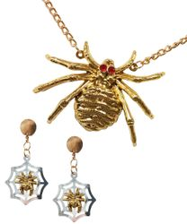 CLEARANCE! Spooky Costume Fashion Spider Necklace With Clip On Earrings Set