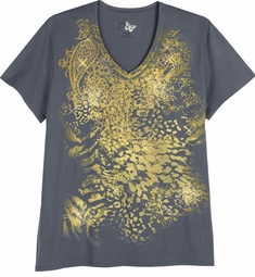 SOLD OUT! Just Reduced! Stone Gray With Golden Floral Print Glittery Plus Size T-Shirt 4x