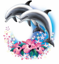 SALE! Two Dolphins Airbrush Plus Size & Supersize T-Shirts S M L XL 2x 3x 4x 5x 6x 7x 8x (Lights Only)