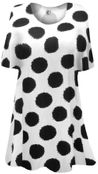 CLEARANCE! White With Black Dots Plus Size & Supersize Extra Long T-Shirts 3x 8x