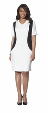 SOLD OUT! White With Black, Black, or Navy With White Plus Size V Neck Color Block Ponte Dress