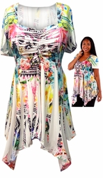 SOLD OUT! White With Floral Print Plus Size Babydoll Top 5x