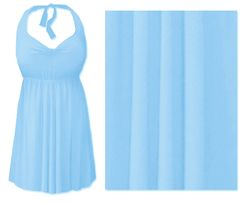 CLEARANCE! Light Blue Plus Size & Supersize Halter 2pc Swimdress 3x