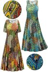 CLEARANCE! Plus Size Perfectly Peacock Slinky Print Short or Long Sleeve Dresses & Tanks 5x