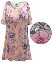 CLEARANCE! Plus Size Pink Floral Print Extra Long Poly/Cotton T-Shirts 6x
