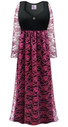 Customizable Plus Size Black & Pink Floral Lace Empire Waist Dress With Rhinestone Detail Lg XL 0x 1x 2x 3x 4x 5x 6x 7x 8x
