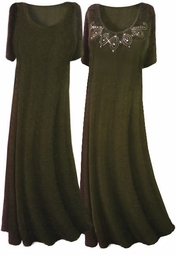 Olive Green Slinky A-Line or Princess Cut Short Sleeve Plus Size & Supersize Dresses + Rhinestuds! 0x 1x 2x 3x 4x 5x 6x 7x 8x