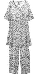 SALE! Customizable Plus Size Light Weight Gray Animal Print 2 Piece Pajama Pant Set 0x 1x 2x 3x 4x 5x 6x 7x 8x 9x