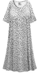 SALE! Customizable Plus Size Light Weight Gray Animal Print Sleep Gown - Muumuu - Moo Moo Dress 0x 1x 2x 3x 4x 5x 6x 7x 8x 9x