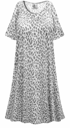 SALE! PERFECT FOR SUMMER! Customizable Plus Size Light Weight Gray Animal Print Sleep Gown - Muumuu - Moo Moo Dress 0x 1x 2x 3x 4x 5x 6x 7x 8x 9x