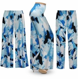 SALE! Customizable Blue Flower Splash Slinky Print Plus Size & Supersize Palazzo Pants - Tapered Pants - Sizes Lg XL 1x 2x 3x 4x 5x 6x 7x 8x 9x