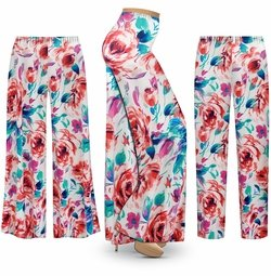 SALE! Customizable Plus Size Floral Slinky Print Palazzo Pants - Tapered Pants - Sizes Lg XL 1x 2x 3x 4x 5x 6x 7x 8x 9x