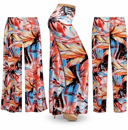 SOLD OUT! SALE! Customizable Plus Size Metallic Floral Abstract Slinky Print Palazzo Pants - Tapered Pants - Sizes Lg XL 1x 2x 3x 4x 5x 6x 7x 8x 9x