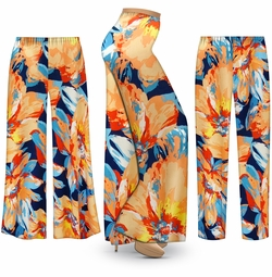 SALE! Customizable Plus Size Large Orange Blooms Slinky Print Palazzo Pants - Tapered Pants - Sizes Lg XL 1x 2x 3x 4x 5x 6x 7x 8x 9x