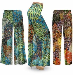 SALE! Customizable Plus Size Perfectly Peacock Abstract Slinky Print Palazzo Pants - Tapered Pants - Sizes Lg XL 1x 2x 3x 4x 5x 6x 7x 8x 9x