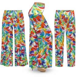SALE! Customizable Plus Size Feathers Slinky Print Palazzo Pants - Tapered Pants - Sizes Lg XL 1x 2x 3x 4x 5x 6x 7x 8x 9x