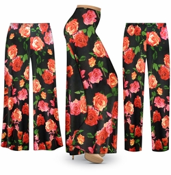 SALE! Customizable Plus Size Roses Slinky Print Palazzo Pants - Tapered Pants - Sizes Lg XL 1x 2x 3x 4x 5x 6x 7x 8x 9x