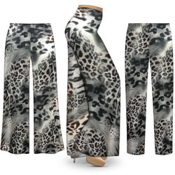 NEW! Customizable Plus Size Gray Animal Slinky Print Palazzo Pants - Tapered Pants - Sizes Lg XL 1x 2x 3x 4x 5x 6x 7x 8x 9x