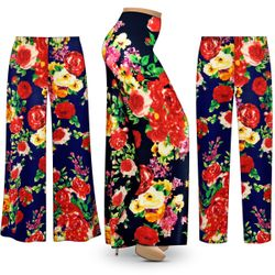 NEW! Customizable Plus Size Floral Slinky Print Palazzo Pants - Tapered Pants - Sizes Lg XL 1x 2x 3x 4x 5x 6x 7x 8x 9x