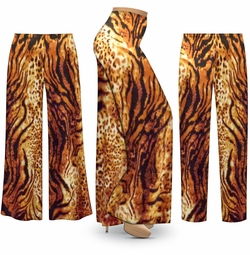 SOLD OUT! NEW! Customizable Plus Size Black & Orange Animal Slinky Print Palazzo Pants - Tapered Pants - Sizes Lg XL 1x 2x 3x 4x 5x 6x 7x 8x 9x