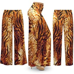NEW! Customizable Plus Size Black & Orange Animal Slinky Print Palazzo Pants - Tapered Pants - Sizes Lg XL 1x 2x 3x 4x 5x 6x 7x 8x 9x