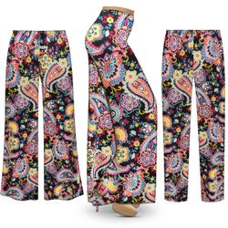 NEW! Customizable Plus Size Summer Paisley Slinky Print Palazzo Pants - Tapered Pants - Sizes Lg XL 1x 2x 3x 4x 5x 6x 7x 8x 9x