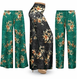 SALE! Customizable Green or Black CRUSH VELVET Floral Print Plus Size & Supersize Palazzo Pants - Tapered Pants - Sizes Lg XL 1x 2x 3x 4x 5x 6x 7x 8x 9x