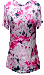 SALE! Pink Black White Tie Dye Plus Size T-Shirt XL 2x 3x 4x 5x 6x