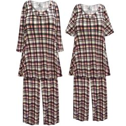 SALE! Customizable Plus Size Black White & Pink Plaid Print 2 Piece Pajama Pant Set 0x 1x 2x 3x 4x 5x 6x 7x 8x 9x