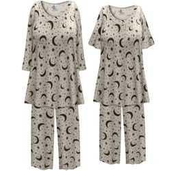 SALE! Customizable Plus Size Moon & Stars Print 2 Piece Pajama Pant Set 0x 1x 2x 3x 4x 5x 6x 7x 8x 9x